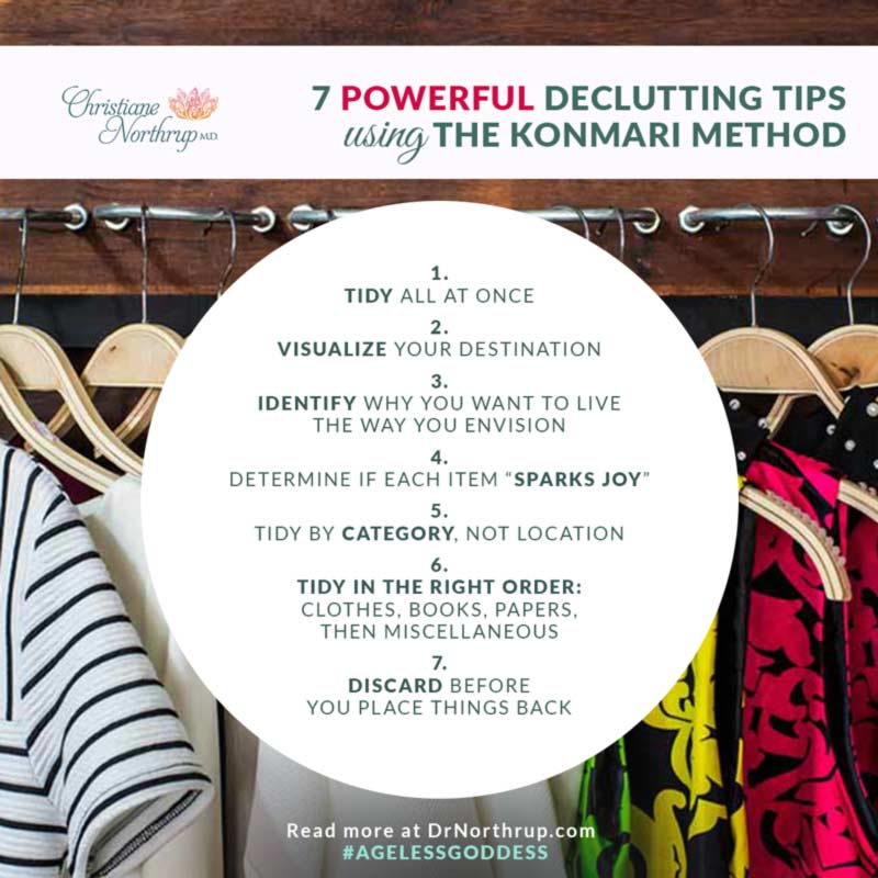 7 Powerful Decluttering Tips Using the KonMari Method via DrNorthrup.com